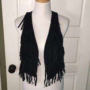 Leather suede black fringe cowboy cowgirl vest